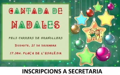 CANTADA DE NADALES SOLIDÀRIA PELS CARRERS DE GRANOLLERS. 21 DE DESEMBRE.